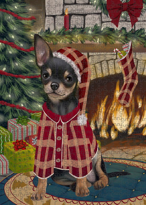 The Stocking was Hung Chihuahua Dog Puzzle with Photo Tin PUZL89300
