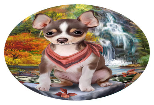 Scenic Waterfall Chihuahua Dog Oval Envelope Seals OVE63424