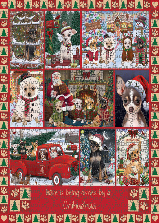 Love is Being Owned Christmas Chihuahua Dogs Puzzle with Photo Tin PUZL99340