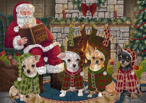 Christmas Cozy Holiday Tails Chihuahuas Dog Puzzle with Photo Tin PUZL88668