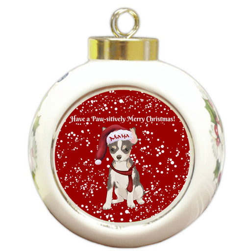 Custom Personalized Pawsitively Chihuahua Dog Merry Christmas Round Ball Ornament