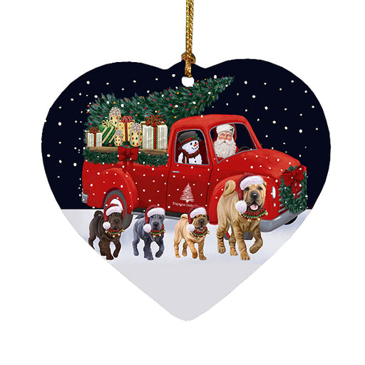 Christmas Express Delivery Red Truck Running Shar Pei Dogs Heart Christmas Ornament RFPOR58082