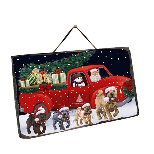 Christmas Express Delivery Red Truck Running Shar Pei Dogs Wall Décor Hanging Photo Slate SLTH58150