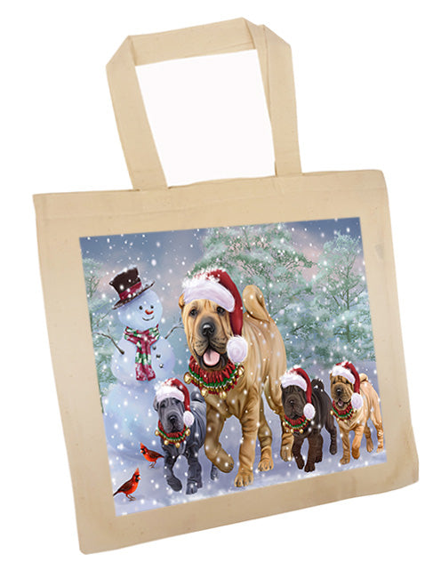 Christmas Running Family Chinese Shar Pei Dogs Tote TTE57130