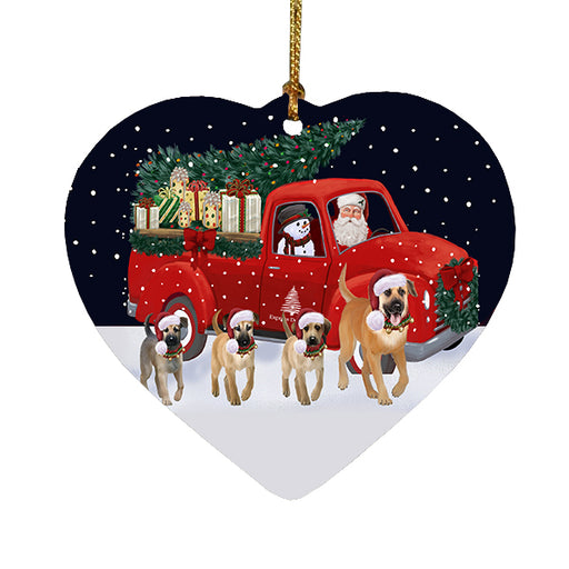 Christmas Express Delivery Red Truck Running Chinook Dogs Heart Christmas Ornament RFPOR58083