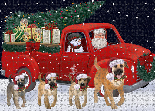Christmas Express Delivery Red Truck Running Chinook Dogs Puzzle with Photo Tin PUZL99664