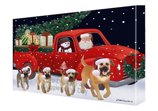 Christmas Express Delivery Red Truck Running Chinook Dogs Canvas Print Wall Art Décor CVS146006