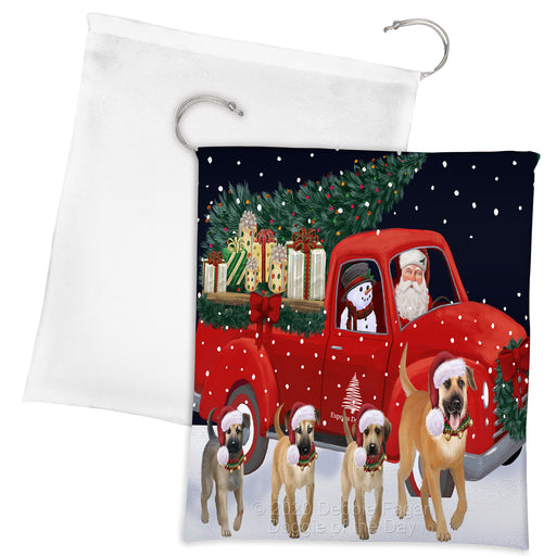 Christmas Express Delivery Red Truck Running Chinook Dogs Drawstring Laundry or Gift Bag LGB48892