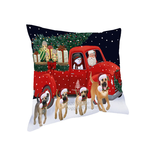 Christmas Express Delivery Red Truck Running Chinook Dogs Pillow PIL86048