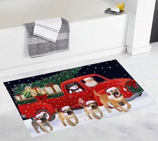 Christmas Express Delivery Red Truck Running Chinook Dogs Bath Mat BRUG53479