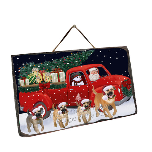 Christmas Express Delivery Red Truck Running Chinook Dogs Wall Décor Hanging Photo Slate SLTH58151