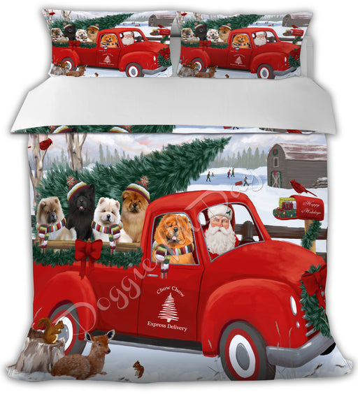 Christmas Santa Express Delivery Red Truck Chow Chow Dogs Bed Duvet Cover DVTCVR48245