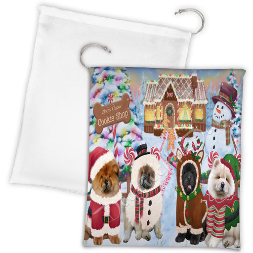Holiday Gingerbread Cookie Chow Chow Dogs Shop Drawstring Laundry or Gift Bag LGB48588