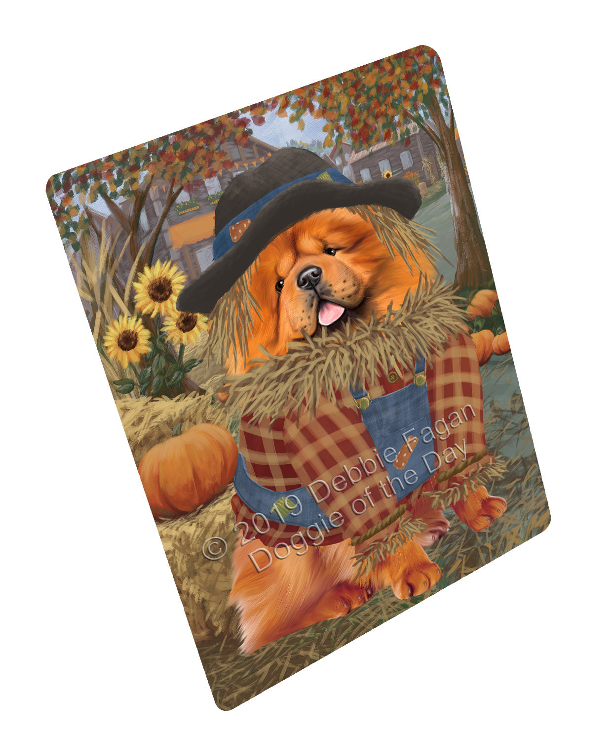 Halloween 'Round Town And Fall Pumpkin Scarecrow Both Chow Chow Dogs Large Refrigerator / Dishwasher Magnet RMAG104730
