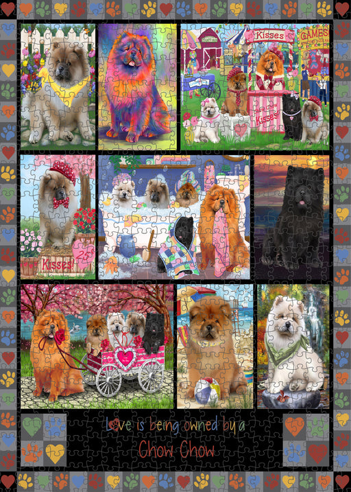 Love is Being Owned Chow Chow Dog Grey Puzzle with Photo Tin PUZL98384