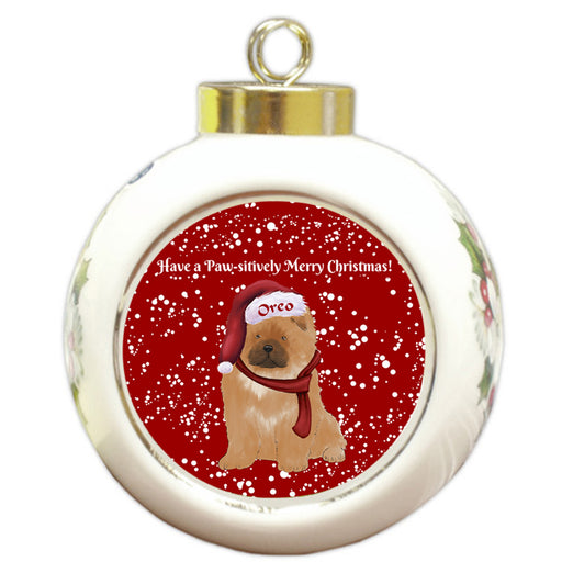 Custom Personalized Pawsitively Chow Chow Dog Merry Christmas Round Ball Ornament