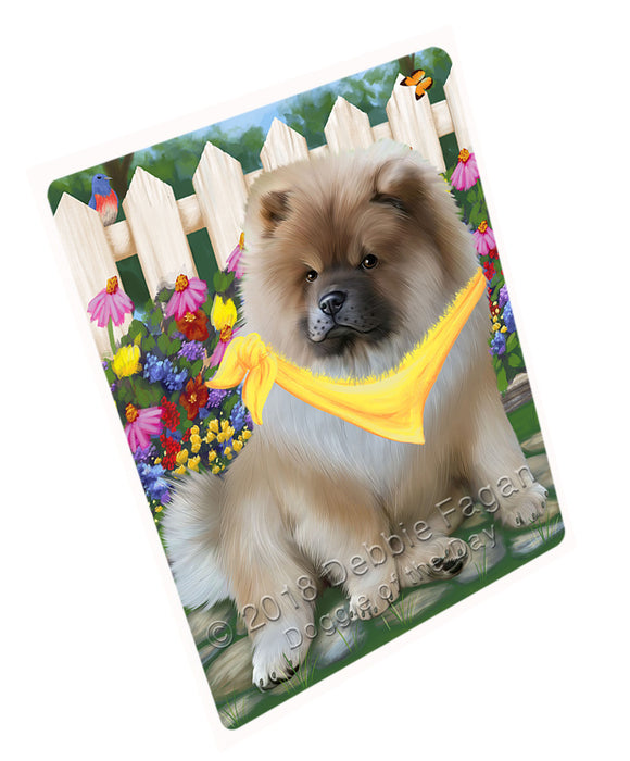 Spring Floral Chow Chow Dog Tempered Cutting Board C53439