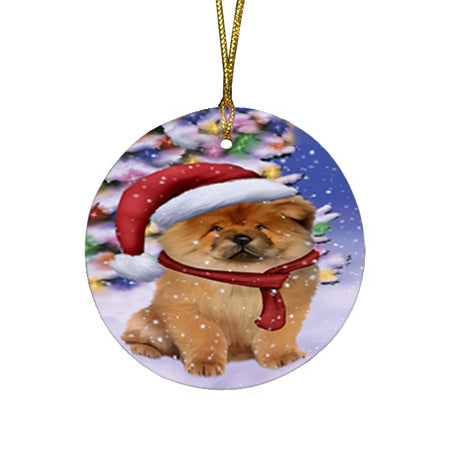Winterland Wonderland Chow Chow Dog In Christmas Holiday Scenic Background  Round Flat Christmas Ornament RFPOR53374