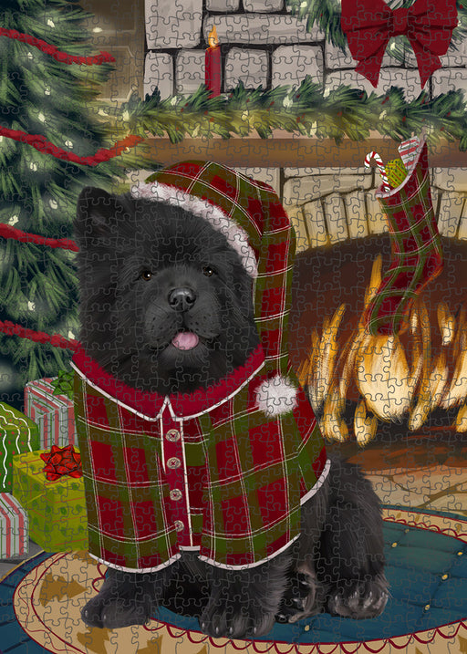 The Stocking was Hung Chow Chow Dog Puzzle with Photo Tin PUZL89308