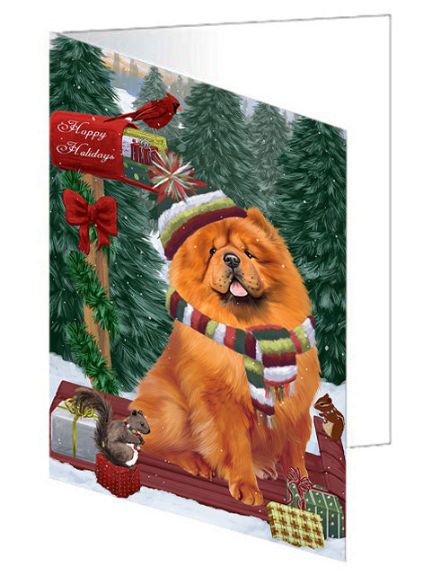 Merry Christmas Woodland Sled Chow Chow Dog Note Card NCD69215