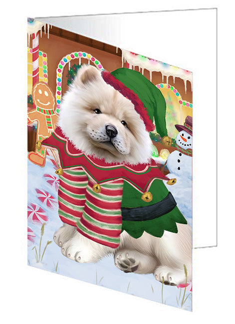 Christmas Gingerbread House Candyfest Chow Chow Dog Note Card NCD73433