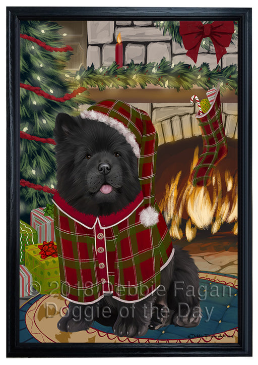The Stocking was Hung Chow Chow Dog Framed Canvas Print Wall Art FCVS176741