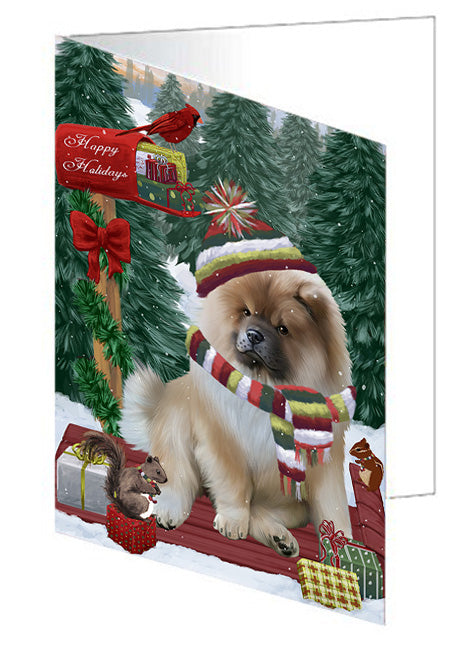 Merry Christmas Woodland Sled Chow Chow Dog Note Card NCD69218