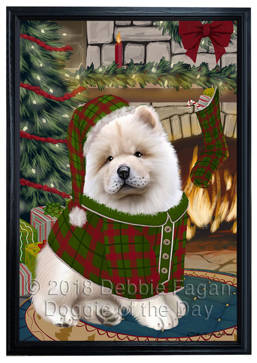 The Stocking was Hung Chow Chow Dog Framed Canvas Print Wall Art FCVS176758