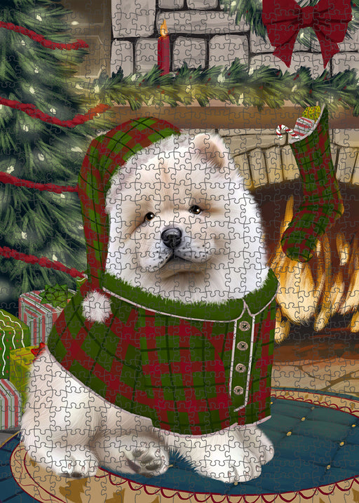 The Stocking was Hung Chow Chow Dog Puzzle with Photo Tin PUZL89312
