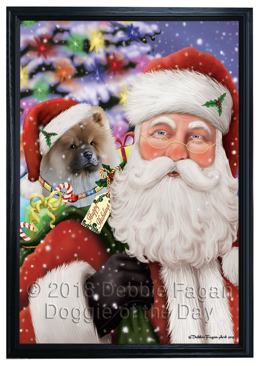 Santa Carrying Chow Chow Dog and Christmas Presents Framed Canvas Print Wall Art FCVS149694