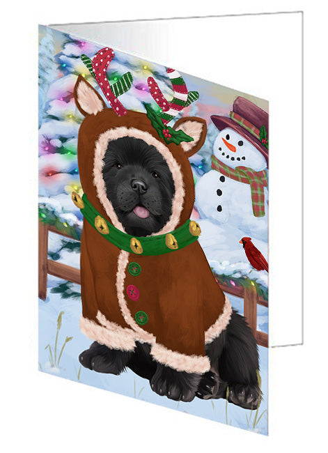 Christmas Gingerbread House Candyfest Chow Chow Dog Note Card NCD73436