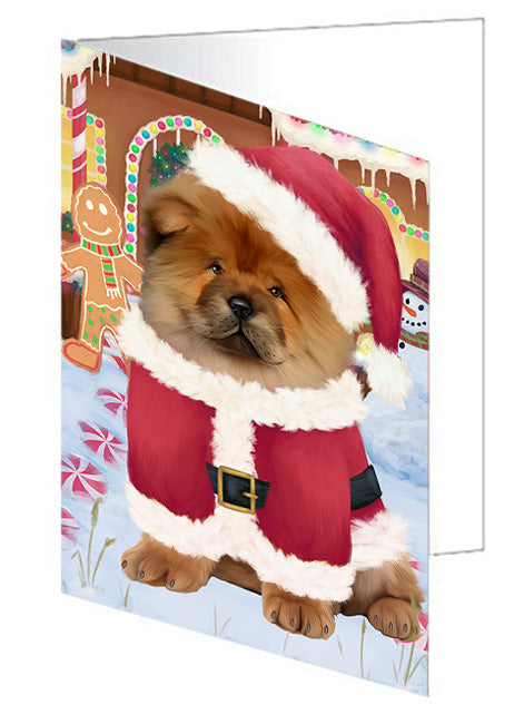 Christmas Gingerbread House Candyfest Chow Chow Dog Note Card NCD73439