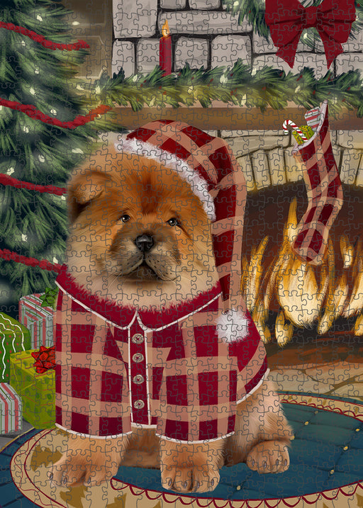 The Stocking was Hung Chow Chow Dog Puzzle with Photo Tin PUZL89316