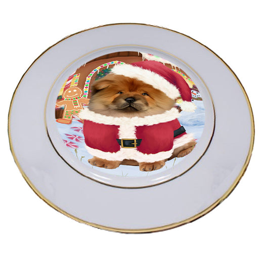 Christmas Gingerbread House Candyfest Chow Chow Dog Porcelain Plate PLT54657