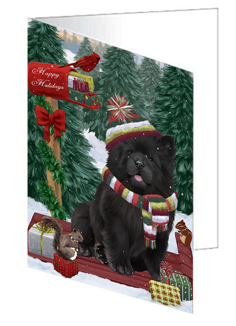 Merry Christmas Woodland Sled Chow Chow Dog Note Card NCD69221