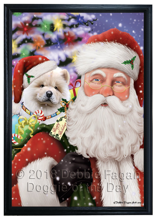Santa Carrying Chow Chow Dog and Christmas Presents Framed Canvas Print Wall Art FCVS149711