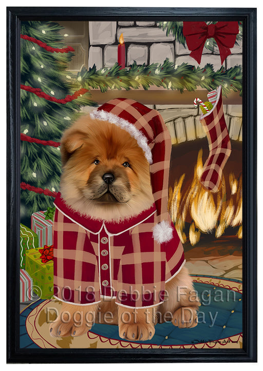 The Stocking was Hung Chow Chow Dog Framed Canvas Print Wall Art FCVS176775