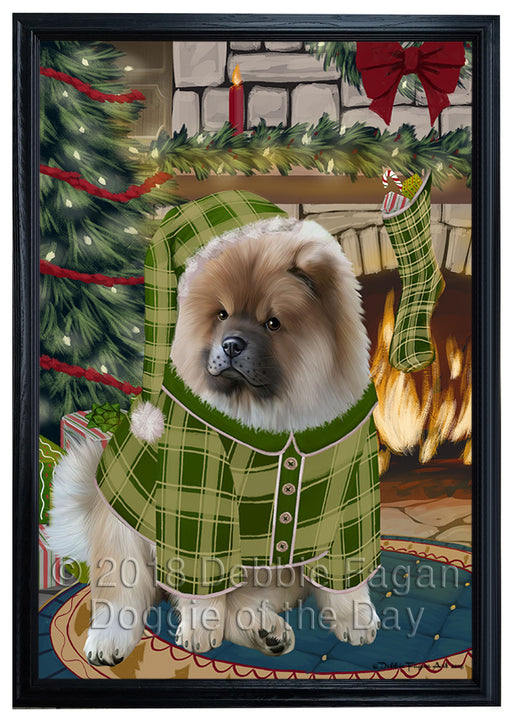 The Stocking was Hung Chow Chow Dog Framed Canvas Print Wall Art FCVS176792