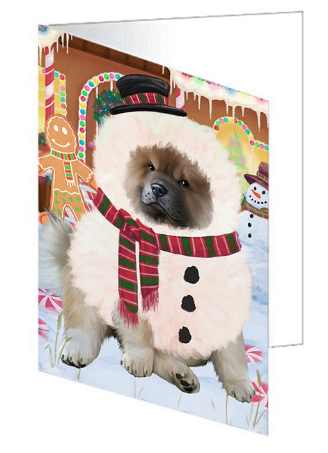 Christmas Gingerbread House Candyfest Chow Chow Dog Note Card NCD73442
