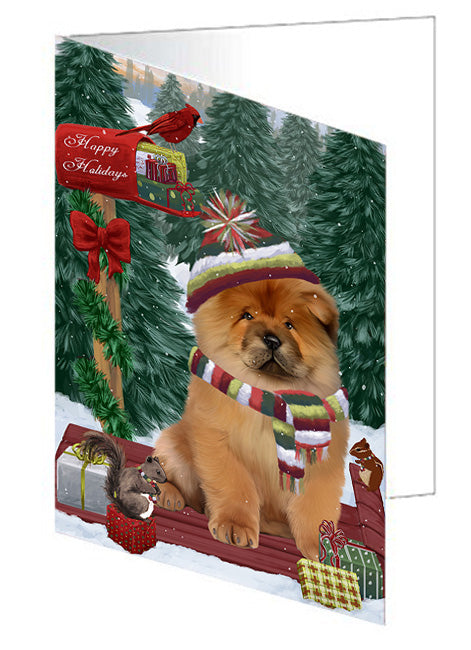 Merry Christmas Woodland Sled Chow Chow Dog Note Card NCD69224