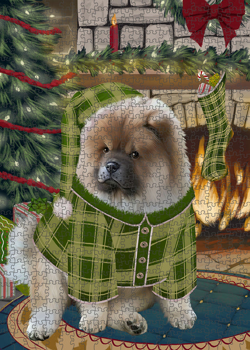 The Stocking was Hung Chow Chow Dog Puzzle with Photo Tin PUZL89320