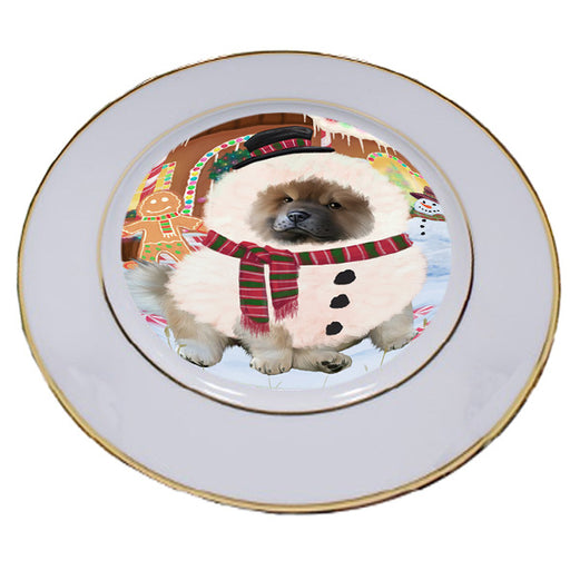 Christmas Gingerbread House Candyfest Chow Chow Dog Porcelain Plate PLT54658