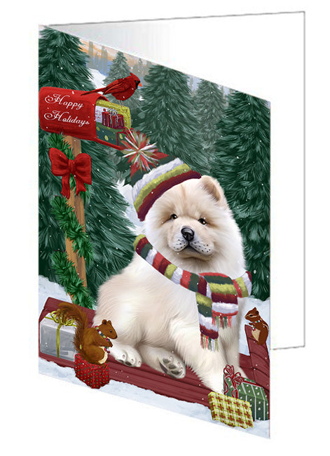 Merry Christmas Woodland Sled Chow Chow Dog Note Card NCD69227