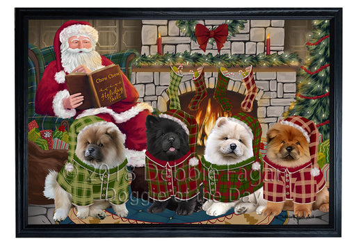 Christmas Cozy Holiday Tails Chow Chows Dog Framed Canvas Print Wall Art FCVS174038