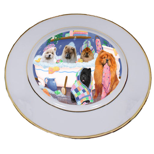 Rub A Dub Dogs In A Tub Chow Chows Dog Porcelain Plate PLT55130