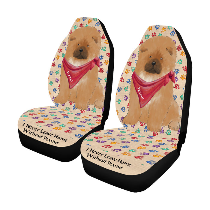 Personalized I Never Leave Home Paw Print Chow Chow Dogs Pet Front Car Seat Cover (Set of 2)