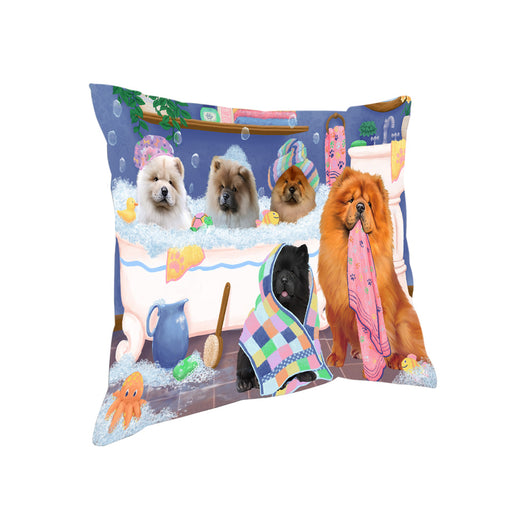 Rub A Dub Dogs In A Tub Chow Chows Dog Pillow PIL81416