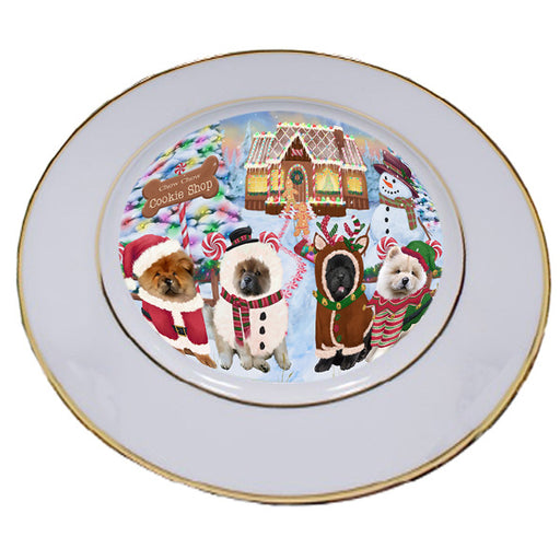 Holiday Gingerbread Cookie Shop Chow Chows Dog Porcelain Plate PLT54742
