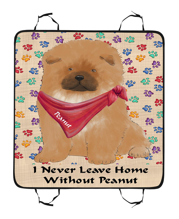 Personalized I Never Leave Home Paw Print Chow Chow Dogs Pet Back Car Seat Cover