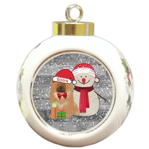 Custom Personalized Snowy Snowman and Chow Chow Dog Christmas Round Ball Ornament